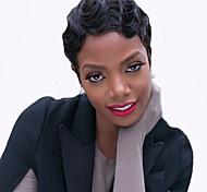жен. Парики из искусственных волос Без шапочки-основы Короткий Волнистые Черный как смоль Для темнокожих женщин Парик в афро-американском