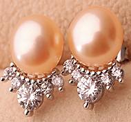 Stud Earrings Pearl Pearl Alloy Fashion Jewelry White Orange Purple Jewelry Casual Sports 1 pair