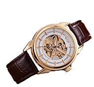 Men's Skeleton Watch Mechanical Watch Automatic self-winding Genuine Leather Band Brown Brand