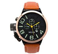 Men's Fashion Watch Quartz Leather Band Black Blue Red Orange