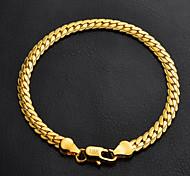 u7® or 18k morceaux de haute qualité rempli torsadée bracelet en chaîne à maillons figaro pour hommes femmes