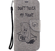For Samsung Galaxy A5(2017) A3(2017) PU Leather Material Scissors Bear Pattern Solid Color Phone Case A510 A310