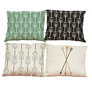 4 PC Lino Natural/Orgánico Funda de almohada Cobertor de Cojín,Con Texturas SólidoOficina/ Negocios Tradicional/Clásico Estilo playero