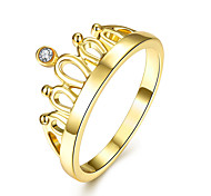 Gold Plated Finger Ring Zircon Crown Jewelry Accessories Women