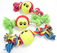 Cat Toy Dog Toy Pet Toys Ball Chew Toy Interactive Teeth Cleaning ToyRope Durable Elastic Cartoon Cat Dog Footprint Tennis Ball Nobbly