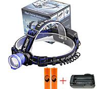 U'King® ZQ-X837BL#7-EU CREE XML T6 Zoomable 180 Rotate 3Modes Headlamp Bike Light Kits with Rear Safety LED