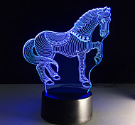 7Colors Changing 3D LED Animal Nightlights Horse Zebra Desk Table Lamp USB Bedside Touch Lamps Home Horse Decoration