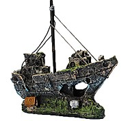 Aquarium Decoration Resin Fishing Shipwreck Boat Ornament Fish Tank Accessories