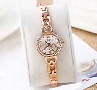 Women's Skeleton Watch Fashion Watch Simulated Diamond Watch Hollow Engraving Imitation Diamond Quartz Alloy Band Cool Casual Rose Gold