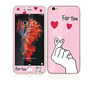 For Apple iPhone 6s/6 4.7 Tempered Glass with Soft Edge Full Screen Coverage Front Screen Protector and Back Protector Love for You Cartoon Pattern