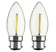 2W B22 E26/E27 Bombillas de Filamento LED CA35 1 COB 200 lm Blanco Cálido Regulable AC 100-240 AC 110-130 V 2 piezas