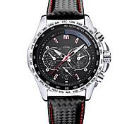 Sport Watch Fashion Watch Wrist watch Quartz Leather Band Cool Black White Black
