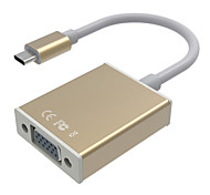 USB Type-C Transfer to VGA Cable HD 1080P USB3.1 Type C to VGA Male to Female Adapter for Macbook Chromebook Pixel Lumia 950XL Gold