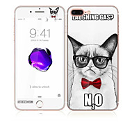 For Apple iPhone 7 4.7 Tempered Glass with Soft Edge Full Screen Coverage Front and Back Screen Protector Handsome Cat Pattern