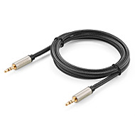 toma del cable aux ugreen® 3.5mm cable de audio macho de oro bradied cables de nylon aux coche masculina chapado cable auxiliar para el