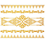 1Pc Gold Long Bracelet Tattoo Sticker 15x11.5CM