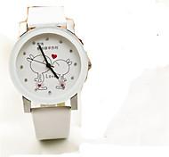 Fashion Watch Quartz Leather Band Charm Black White Pink