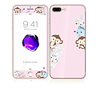 For Apple iPhone 7 4.7 Tempered Glass with Soft Edge Full Screen Coverage Front Screen Protector and Back Protector Monkey Cat Pattern
