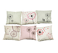 Set of 6 Hand painted dandelion pattern Linen Pillowcase Sofa Home Decor Cushion Cover