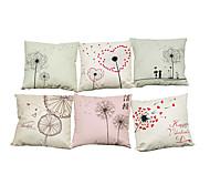 Set of 6 Hand painted dandelion pattern Linen Pillowcase Sofa Home Decor Cushion Cover