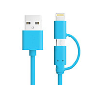 el color de las IFM 2 de cable de carga del cable de datos 1 micro USB para el iPhone 7 6s 5s Plus SE 4 del ipad mini teléfono inteligente Android