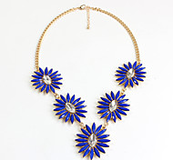 Women's Pendant Necklaces Jewelry Gemstone Alloy Jewelry Flower Style Fashion Personalized Euramerican Dark Blue JewelryParty Special