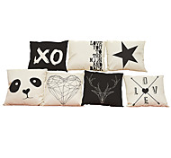 Set of 7 Geometric letter pattern Linen  Cushion Cover Home Office Sofa Square  Pillow Case Decorative Cushion Covers Pillowcases