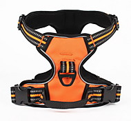 Dog Harness Adjustable/Retractable Solid Black Green Orange Nylon