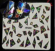 1pcs Geometric Image Nail Art Laser Glitter Sticker DIY Nail Art Water Transfer Decals Nail Art Design XF6250