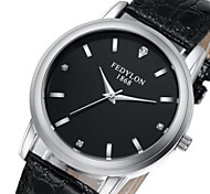 Men's Women's Fashion Watch Quartz / Leather Band Casual Black Black
