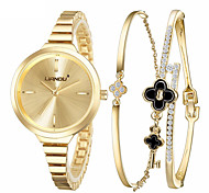 Luxury Fashion Watch Wristwatches Bracelet Watch Quartz Stainless Steel Band Ladies Watch Charm Watch Set (3Pcs/Set)