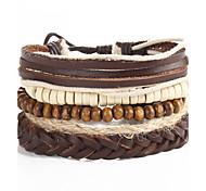 Women Valentine Wooden Beads Wax Cord Adjustable Braided Beaded Hand Woven Bracelet Jewelry Gift Khaki 5pc