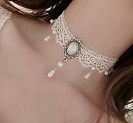 Жен. Ожерелья-бархатки Искусственный жемчуг В форме цветка Искусственный жемчуг Кружево Тату-дизайн В виде подвески Цветочный принт