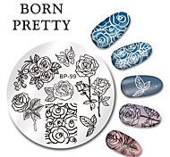 Рожденный довольно круглый гвоздь штампа штамповки пластины шаблон бабочки цветок дизайн изображение плита набор 5.5cm bp-99