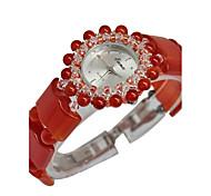 Женские Модные часы Кварцевый Глубокий зеленый Группа Красный Красный