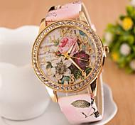 Женские Нарядные часы Модные часы Наручные часы Имитационная Четырехугольник Часы Имитация Алмазный Кварцевый PU Группа Цветы Розовый