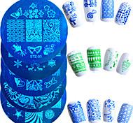 10шт / набор горячих продажи ногти штамповки пластина мода трафареты из нержавеющей стали прекрасного дизайн трафареты красочных бабочек