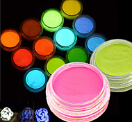 12Bottle/Set Hot Fashion Colorful Nail Art Neon Pigment Powder Fluorescent Glitter Powder Glow In Dark Nail Art DIY Beauty Pigment YS01-12