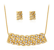 Lucky Doll Jewelry Set Fashion Classic Rhinestone Gold Plated Alloy Geometric 1 Necklace 1 Pair of Earrings For Party Gift Daily Office & Career 1set