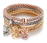 Bohemia Punk Birthday Gift Crown Diamond Pendant Three - color Elasticity Bracelet Valentine Gift Gold1pc