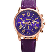 Women's Fashion Watch Quartz Leather Band Casual Brown Purple Yellow