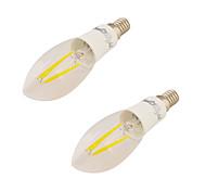 4W E14 Luzes de LED em Vela C37 4 COB 350 lm Branco Quente V 2 pçs