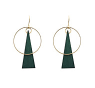 Drop Earrings Wood Alloy Unique Design Fashion Euramerican Circle Green Jewelry Wedding Party Halloween Daily Casual Sports 1 pair