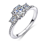 New Styles 3 Clear White Synthetic Cubic Zircon Rhodium-Color Copper Wedding Ring for Women Anniversary Gift Anillos Moda