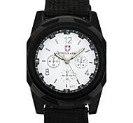 Men's Fashion Watch Quartz Fabric Band Casual Black Brown
