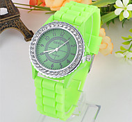 Mulheres Relógio de Moda Quartzo Silicone Banda Verde Amarelo Amarelo Verde