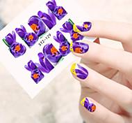 10pcs/set Romantic Purple Flower Nail Art Water Transfer Decals Full Nail Design For Nail Beauty STZ-129