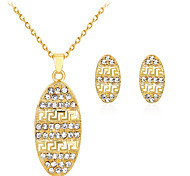 Lucky Doll Jewelry Set Fashion Classic Rhinestone Gold Plated Alloy Oval 1 Necklace 1 Pair of Earrings For Party Gift Daily Office & Career 1set