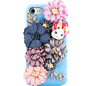 For Rhinestone DIY Case Back Cover Case Stereo Handmade Pearl Flower Rabbit Hard Plush with PC Material for Apple iPhone 7 7 Plus 6s 6 Plus