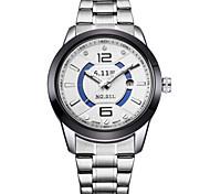 Men's Fashion Watch Quartz Alloy Band Silver Black/Silver Blue Red Black White